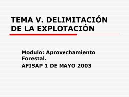 TEMA V. DELIMITACIÓN DE LA EXPLOTACIÓN