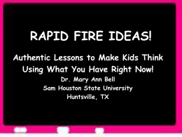 RAPID FIRE IDEAS!