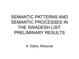 SEMANTIC PATTERNS AND SEMANTIC PROCESSES IN THE
