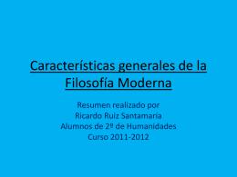 Características Generales de la Filosofía Moderna