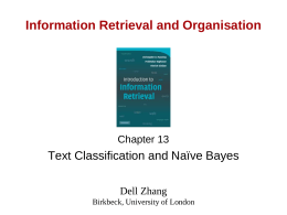 CS276A Text Information Retrieval, Mining, and