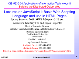 JavaScript I Spring 2001 - University of Macedonia
