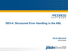 Structured Error Handling