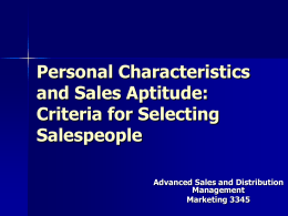 Personal Characteristics and Sales Aptitude: