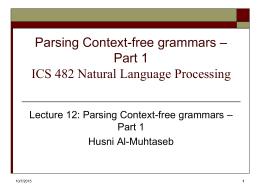 Parsing Context-free grammars – Part 1