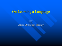 On Learning a Language