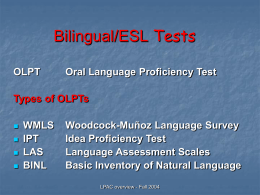 The Language Proficiency Assessment Committee