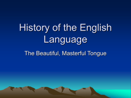 History of the English Language -