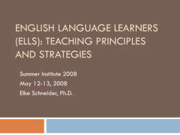 English Language Learners (ELLs): Teaching
