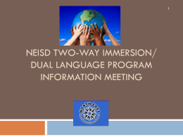 NEISD Two-Way Immersion/Dual Language