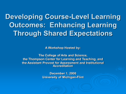 Developing Course-Level Learning Objectives: