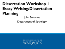 Dissertation Workshop - University of Warwick