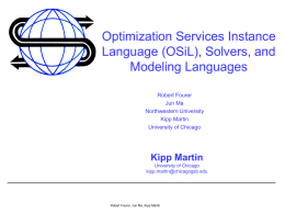 Optimization Services Framework and Virtual