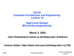 Computer Architecture and Engineering Lecture 6:
