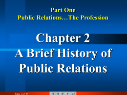 Course: Public Relations: The Profession and