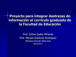 Proyecto para integrar destrezas de información al