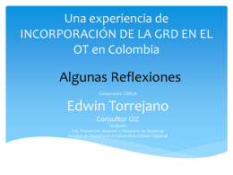 INCORPORACIÓN DE LA GRD EN EL OT en Colombia