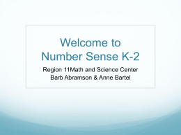 Welcome to Number Sense K-2