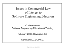 Issues in Commercial Law of Interest to Software