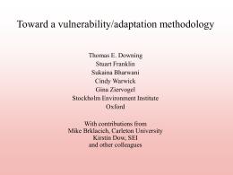 Toward a vulnerability/adaptation methodology