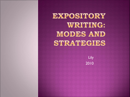 Expository writing: Modes and strategies