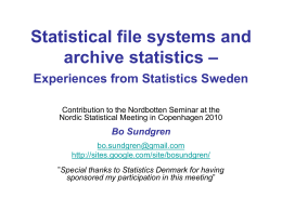 Statistical file systems and archive statistics –