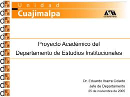 Proyecto Académico del Departamento de Estudios