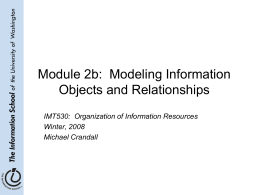 Module 2b: Modeling Information Objects and