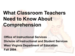 Comprehension for Institutional Education