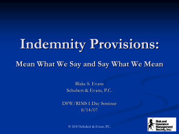 Analysis of Indemnity Provisions