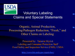Labeling of FSIS Regulated Foods