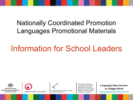 Nationally Coordinated Languages Promotional