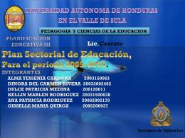 República de Honduras Plan Estratégico Sectorial