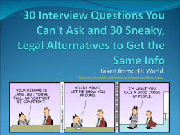 30 Interview Questions You Can`t Ask and 30
