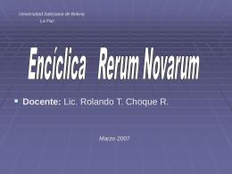 Encíclica Rerum Novarum