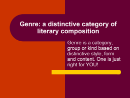Genre: a distinctive category of literary