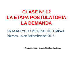 CLASE Nº 12 LA ETAPA POSTULATORIA LA DEMANDA