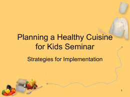 Planning a Healthy Cuisine for Kids Workshop