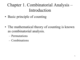 Combinatorial Analysis - Florida State University