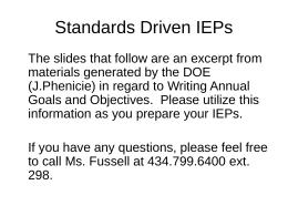 Standards Driven IEPs - Danville Public Schools