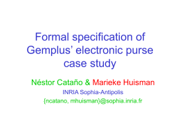 Formal specification of Gemplus' electronic purse