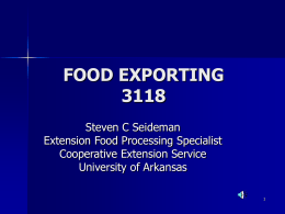 FOOD EXPORTING 3118 - University of Arkansas