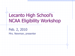 Lecanto High School's NCAA Eligibility Workshop