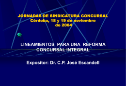 3ras. JORNADAS DE SINDICATURA CONCURSAL Córdoba,