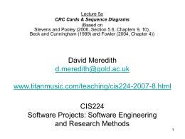 CIS224 Software Projects: Software Engineering and