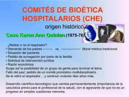 COMITÉS DE BIOÉTICA HOSPITALARIOS (CHE)