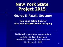 PROJECT 2015: NY STATE AND ITS COMMUNITIES PREPARE