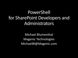 PowerShell for SharePoint Developers and