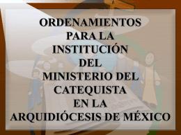ORDENAMIENTOS PARA LA INSTITUCIÓN DEL MINISTERIO