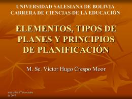ELEMENTOS, TIPOS Y PRINCIPIOS DE PLANIFICACIÓN